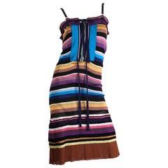 2000S MISSONI Purple & Blue Rayon Knit Stripe Drawstring Waist Dress With Pleat