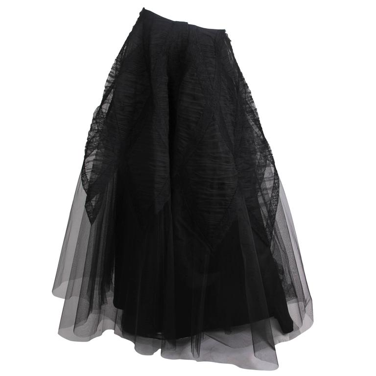 1940s Tule and Chantilly Lace Ball Skirt For Sale