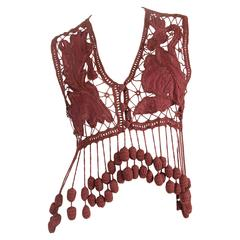 1990s Romeo Gigli Hand Embroidered Linen Vest as Modeled by Kate Moss
