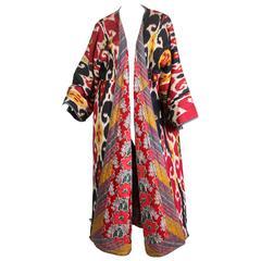 Fantastic Antique Handwoven Silk Ikat Chapan Robe