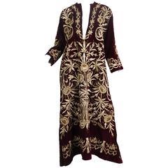 Antique Ottoman Gold Embroidered Velvet Dress From Turkey