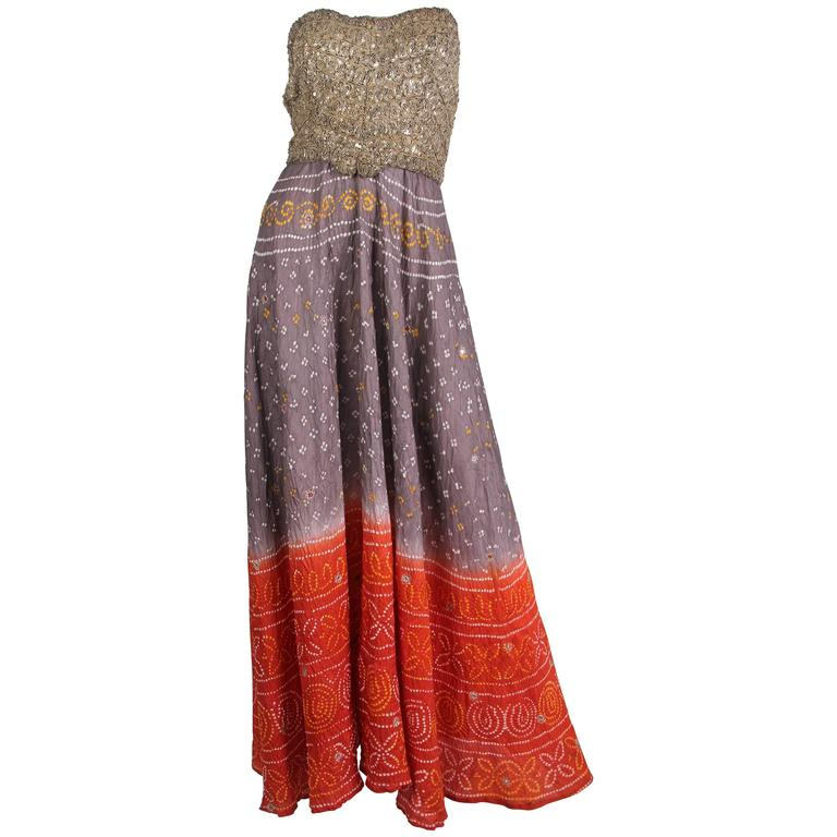 Hand Dyed Indian Dress with Metal Sequins and Embroidery For Sale