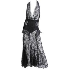 1930s Sheer Black Silk Lace Gown with Mushroom Lace