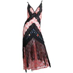 1930s Bias Cut Silk Net Lace Dress Re-Built with Chinese Embroidery and Fringe