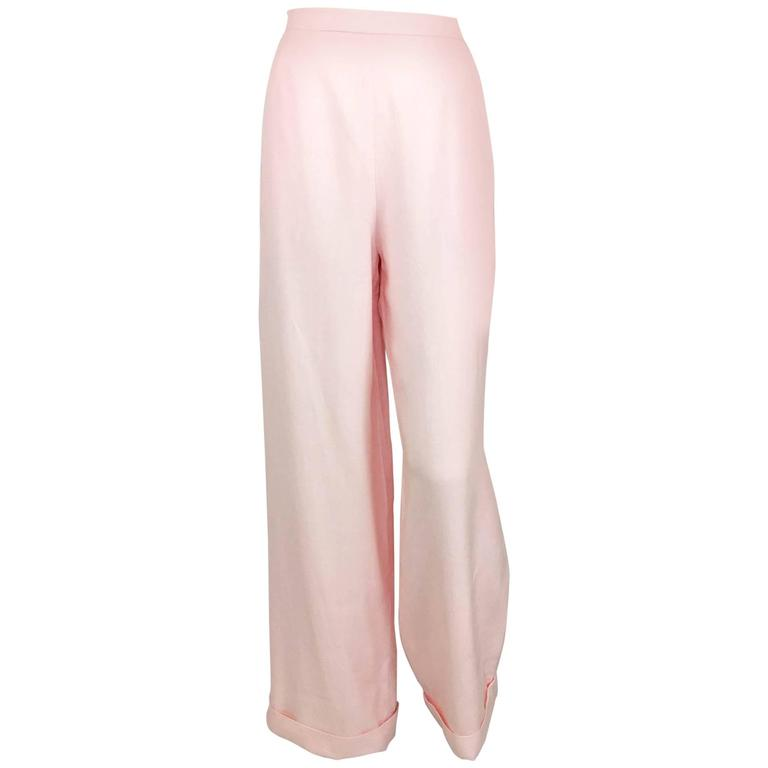 Chanel Pale Pink Linen Wide Flared Leg High-Waisted Trousers/Pants - 1990S For Sale