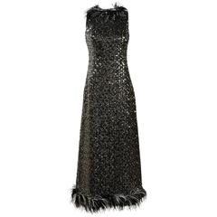 Vintage Jack Bryan Black Silver Metallic Sequin Feather Sleeveless Gown SZ 10