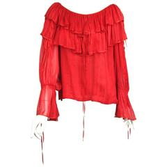 1970's Haute Couture Silk Yves Saint Laurent Boho Ruffled Top Numbered