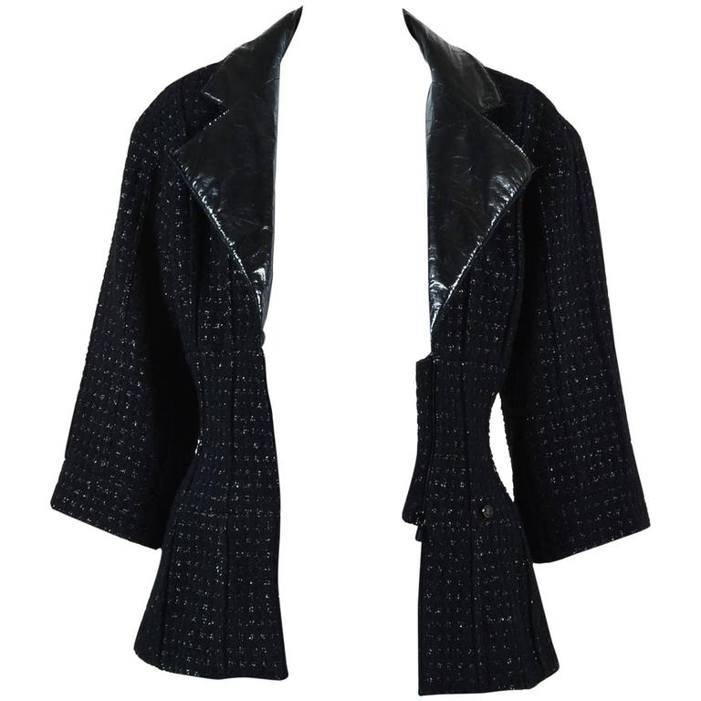 Chanel Black Wool Metallic Checkered Leather Collar Zip Crop Sleeve Jacket SZ 38 1