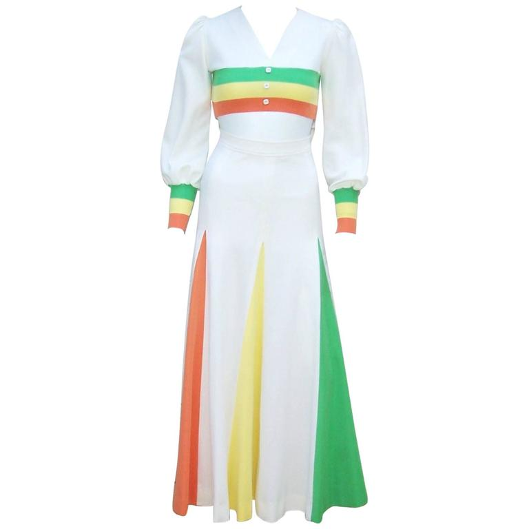 Colorful 1970s 2-Piece Midriff Baring Maxi Skirt & Crop Top  For Sale