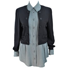 MOSCHINO Cheap & Chic Plaid Double Layer Jacket with Plaid Shirt Size 10