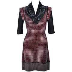 JEAN PAUL GAULTIER Stretch Wool Dress with Draped Mesh Collar Size XS