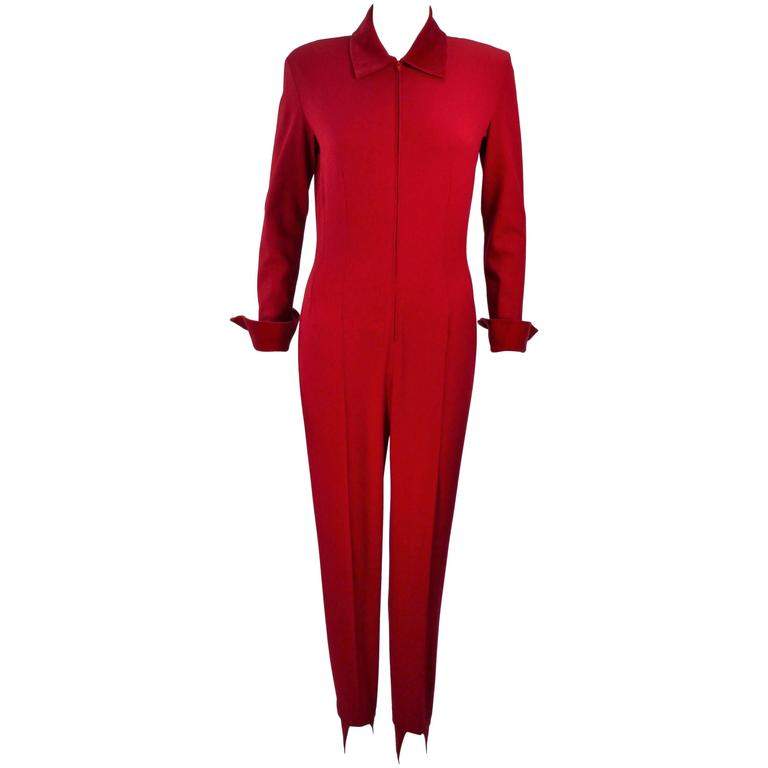 MOSCHINO Red Stretch Wool Stirrup Pantsuit with Velvet Trim Size 6-8