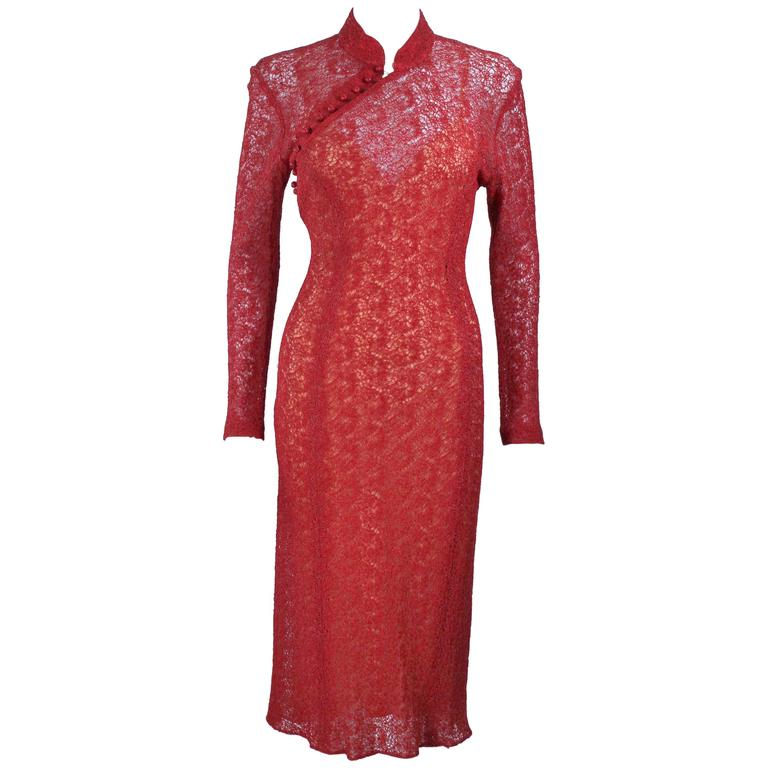 MONIQUE LHUILLIER Asian Inspired Deep Coral Knit lace Cocktail Dress Size 8