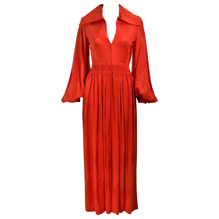 GALANOS 1970's Orange Silk Billow Sleeve Zip Front Gown Size 2 4
