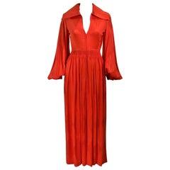 GALANOS 1970's Orange Silk Billow Sleeve Zip Front Gown Size 2 4