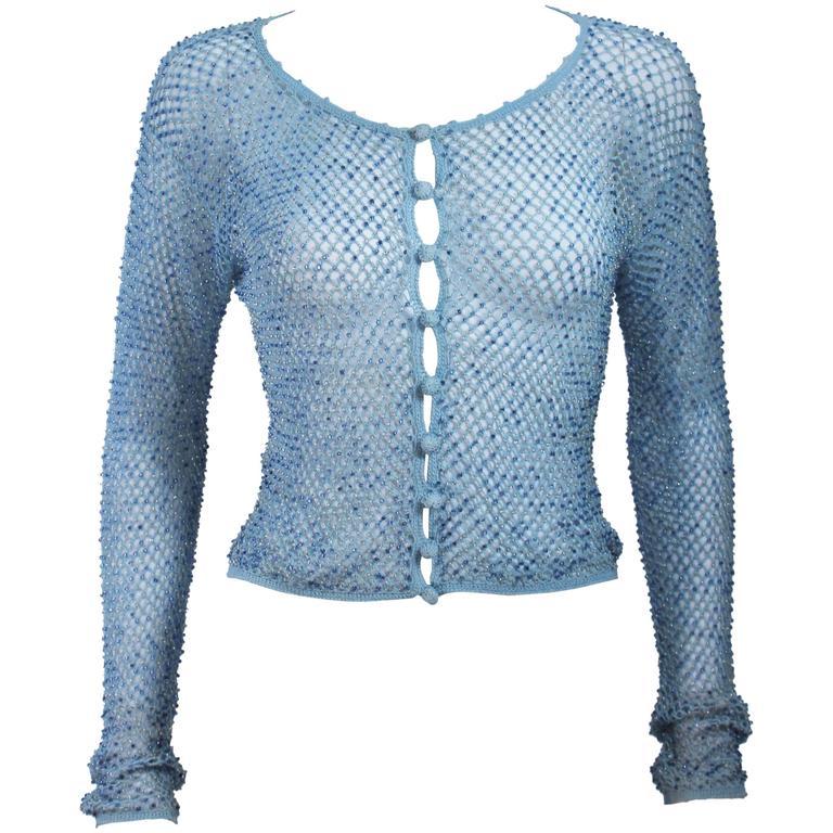 MOSCHINO Sky Blue Beaded Knit Sweater Size 42