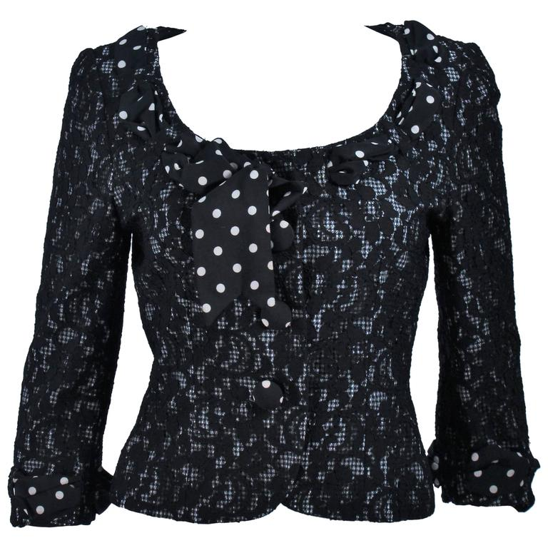 MOSCHINO Black and White Lace Jacket with Polka Dot Silk Size 8 For Sale