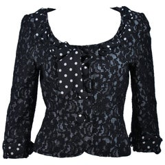 MOSCHINO Black and White Lace Jacket with Polka Dot Silk Size 8