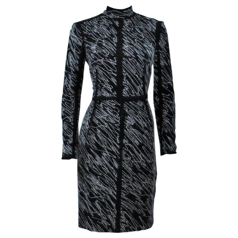 PROENZA SCHOULER Black & White Contrast Wool Dress Size 8