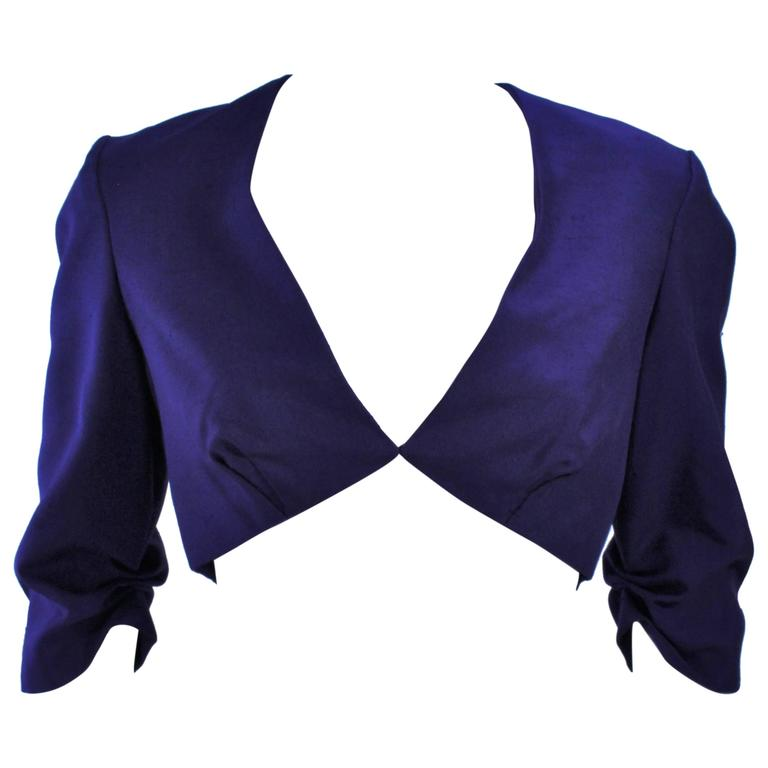 ELIZABETH MASON COUTURE Purple Silk Bolero 'Made to Order' Sample Size 2