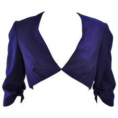 ELIZABETH MASON COUTURE Purple Silk Bolero 'Made to Order' Sample Size 2