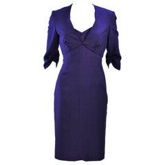ELIZABETH MASON COUTURE Purple Silk Spaghetti Strap Cocktail Dress Made to Order