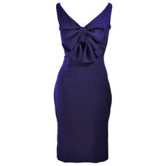 ELIZABETH MASON COUTURE Purple Silk Cocktail Dress with Bow Made to Order Size 2
