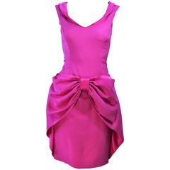ELIZABETH MASON COUTURE Pink Magenta Bow Cocktail Dress Made to Order Size 2