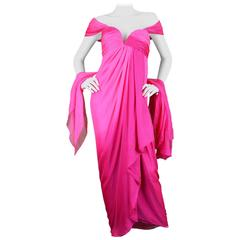 Odicini Couture 1980s Fuchsia Pink Ombre Draped Silk Goddess Evening Gown
