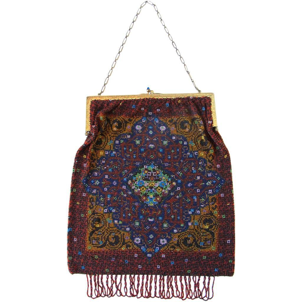 Antique Multi-Color Beaded Purse For Sale at 1stdibs