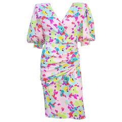 1980s Emanuel Ungaro Silk Sarong Style Floral Dress