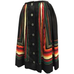 1950s Argentinian Wool Skirt w Button-Down Front and Mitered Stripe Detail