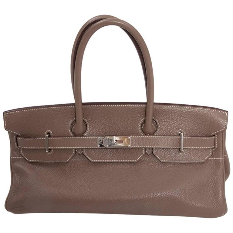 Hermes Etoupe Taurillon Clemence Leather 42 cm JPG Shoulder Birkin Handbag