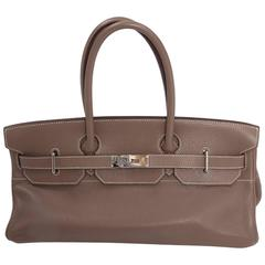 Hermes Etoupe Taurillon Clemence Leather 42 cm JPG Shoulder Birkin Handbag