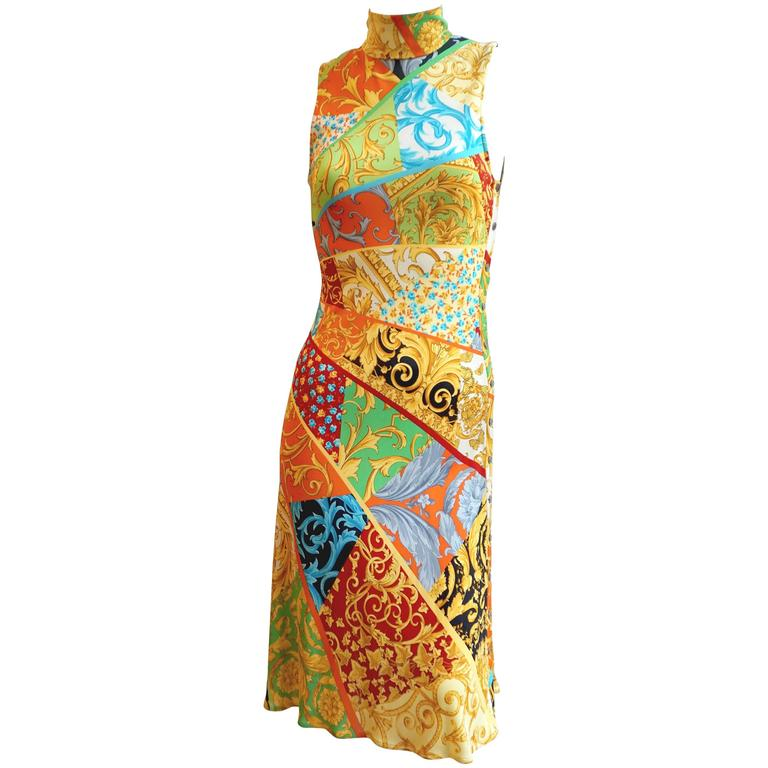 GIANNI VERSACE Print Jersey Dress with Side Snap Detail For Sale