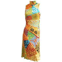 GIANNI VERSACE Print Jersey Dress with Side Snap Detail