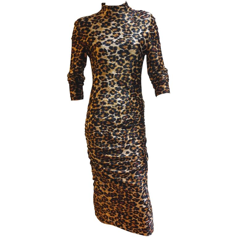 PATRICK KELLY Leopard Print Stretch Velvet Long Sleeve Fitted Dress