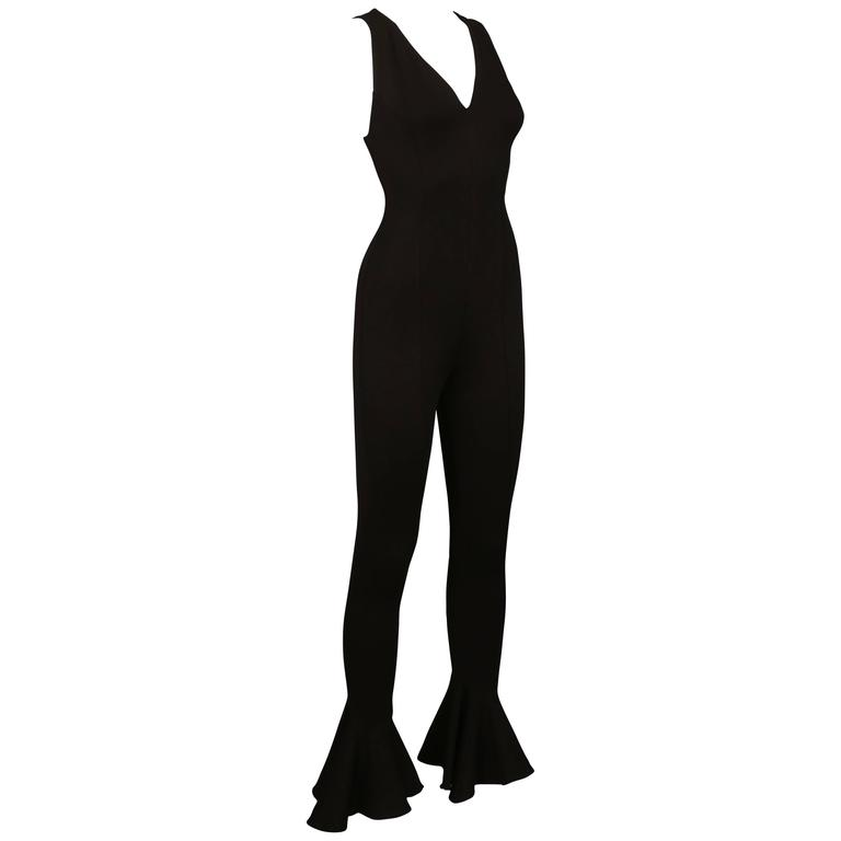 Gianni Versace black spandex flared jumpsuit, C. 1990s