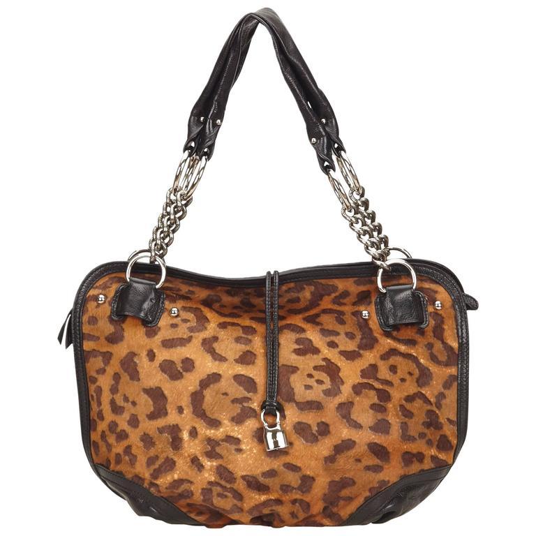 Celine Brown Leopard Print Pony Hair Bittersweet Shoulder Bag 1