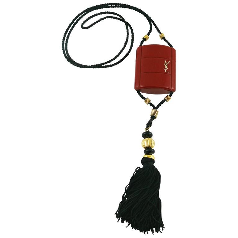 Yves Saint Laurent YSL Vintage Opium Inro Style Pendant Necklace For Sale