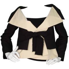 Giambattista Valli Vintage Black & Ivory Silk Cropped Jacket sz 42