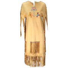 1970s Native American Style Leather Handmade/painted Fringe Dress