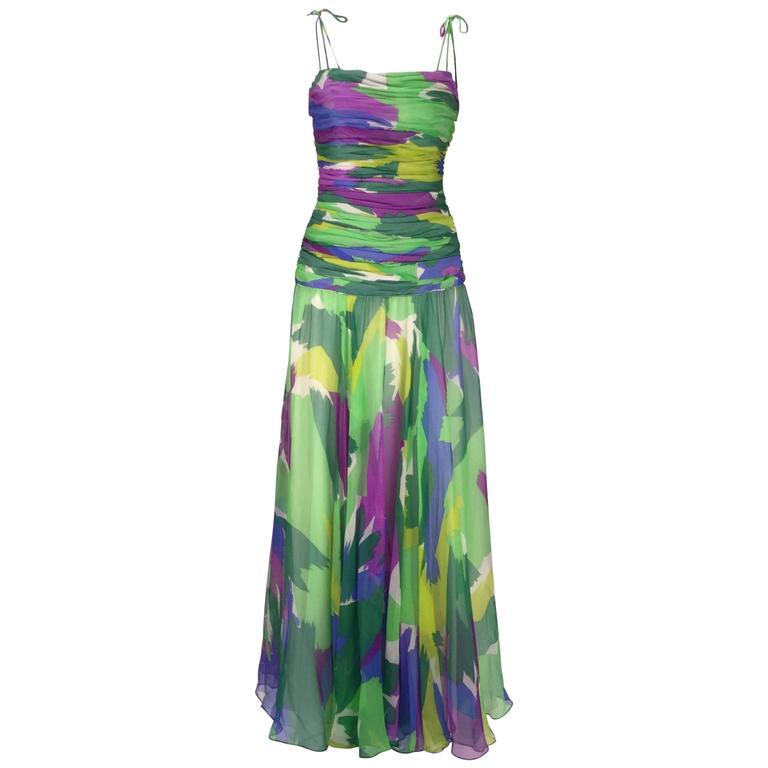1990s Silk Abstract Evening Gown 1