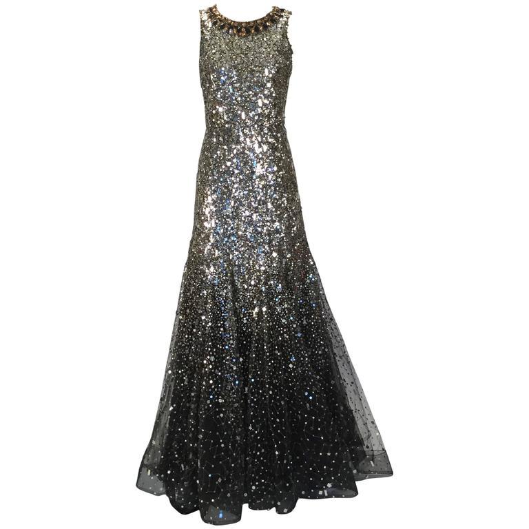 Oscar de la Renta Sequined Constellation Evening Gown For Sale