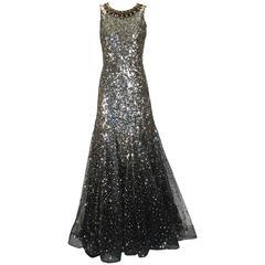 Oscar de la Renta Sequined Constellation Evening Gown