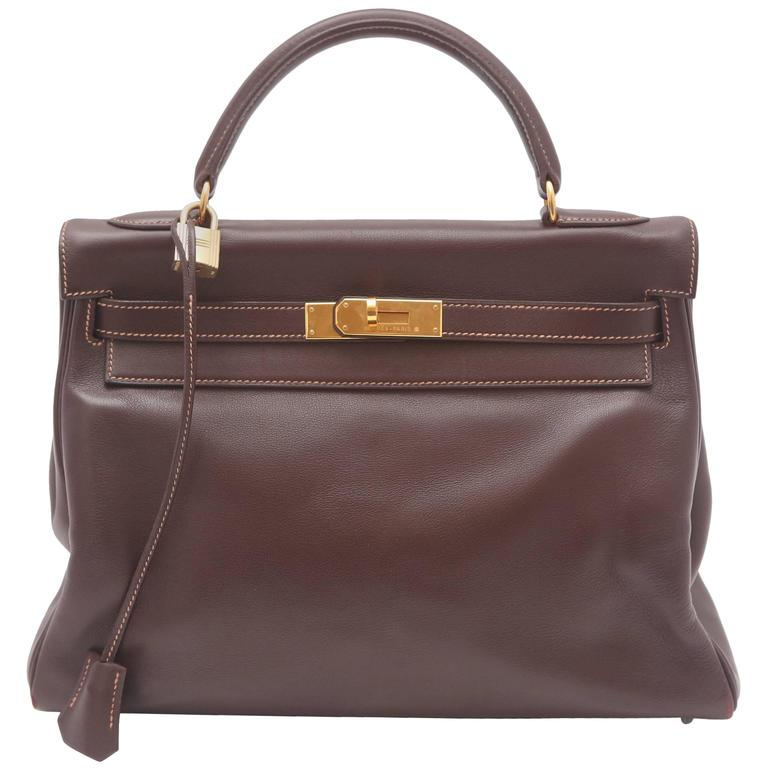 Hermes 32CM Brown Leather Kelly Handbag Circa 1994 For Sale