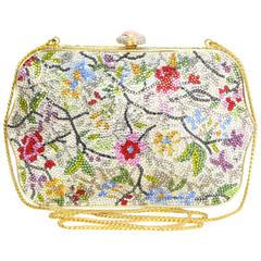 Judith Leiber Multi-Colored Floral Crystal Embellished Minaudiere GHW