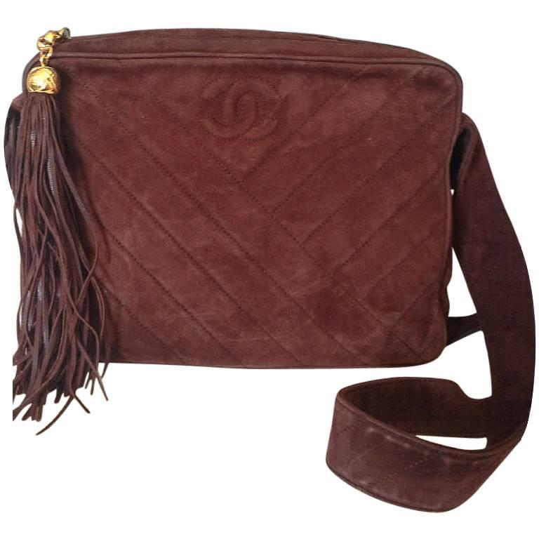 Vintage CHANEL dark brown V stitch suede leather shoulder bag with CC stitch