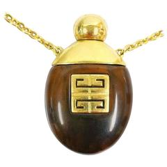 Vintage Givenchy gold chain perfume bottle necklace with brown marble stone