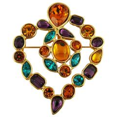 Yves Saint Laurent YSL Vintage Massive Jewelled Heart Brooch and Pendant